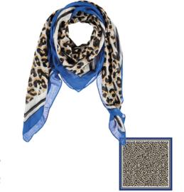 Sarlini Vierkante Dames sjaal Leopard Blauw