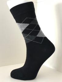 Boru Bamboo Design Square Argyle Sock | 2-Pack | Zwart/Grijs