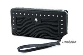 Zwarte zebra portemonnee Mombassa