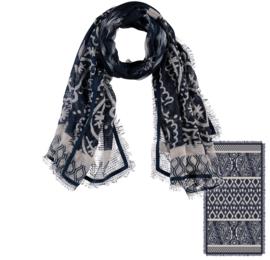 Sarlini Lange geweven Dames Sjaal Blauw