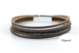 Donker Grijs elegant leren armband