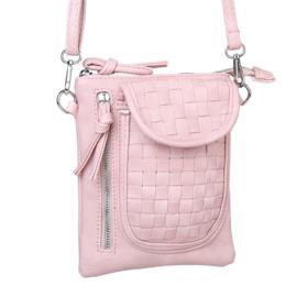 Leuk roze 3-vaks tasje met gevlochten voorzijde