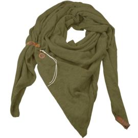 """Royale driekhoek sjaal """"Fien"""" met stoer leren bandje, Army Green"""