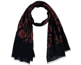 Sarlini Lange geweven Dames Sjaal Navy