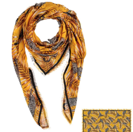 Sarlini Vierkante Dames sjaal Panter Okergeel