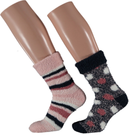 HomeSocks Dames Stripes & Dots | 2-Pack Roze/Blauw