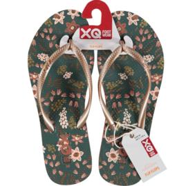 Flip flops Dames | Teenslippers Teal Flowers