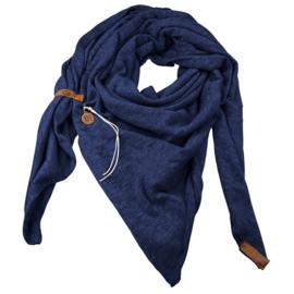 """Royale driekhoek sjaal """"Fien"""" met stoer leren bandje, Marine Blauw"""