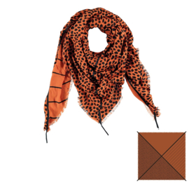 Sarlini Vierkante Mid Brown Dames sjaal Dotjes