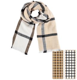 Sarlini lange Camel Geruite dames sjaal | 2 Sides