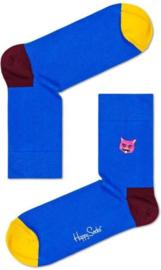 Happy Socks Embroidery Half Crew Cat