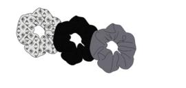 Sarlini Haarelastiek Scrunchies Plisé Grijs/Zwart | 3 stuks