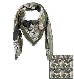 Sarlini Vierkante Dames sjaal Leaves Olive Green