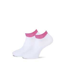 Marcmarcs Dames Sneakersokje   2-Pack   Moscow Wit   Pink Fuchsia