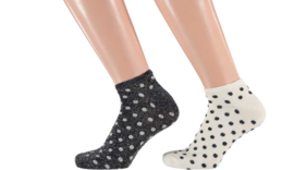 Sarlini Fashion Dames Low Sneakersok Dots zwart/wit | 2-Pack | Maat 36-41