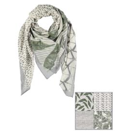 Sarlini Vierkante Dames sjaal Leaves Fantasy Olive Green