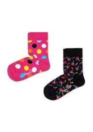 Happy Socks Kids 2-Pack Big Dot Socks Roze