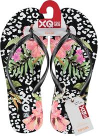 Flip flops Dames | Teenslippers Flowers Zwart