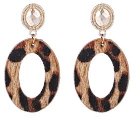 Leopard Oorbellen Bruin 2 Ovaal