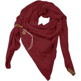 """Royale driekhoek sjaal """"Fien"""" met stoer leren bandje, Bordeaux"""