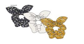 Sarlini Haarelastiek Scrunchies okergeel/navy met strik | 3 stuks