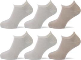 Teckel Sneaker sokken Beige 6 -Pack