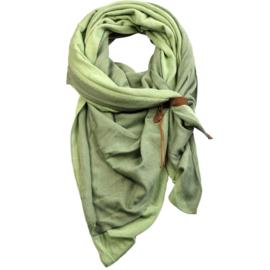 Lot83 driehoek sjaal Fien Twin met stoer leren bandje, Green/Green