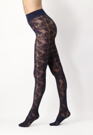 Oroblu   Floral Lace 40 Panty Zwart/Blauw