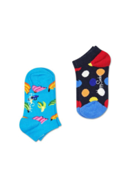 Happy Socks Kids 2-Pack Big Dot Low Sock Donkerblauw