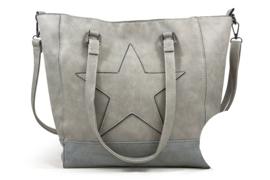 Stoere licht grijs kleurige schoudertas / shopper met ster