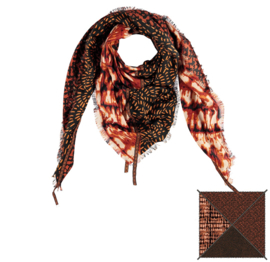 Sarlini Vierkante Orange Dames sjaal Flames