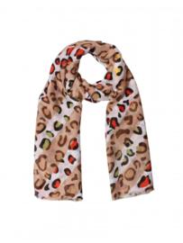 Stoere Spot Multi Leopard Sjaal Khaki