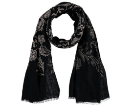 Sarlini Lange geweven Dames Sjaal Zwart