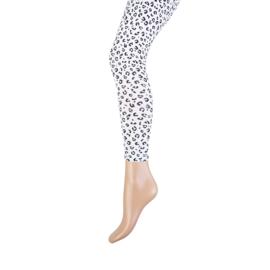 Katoenen meisjeslegging Yellow Moon lang met Leopard print Zwart/Wit