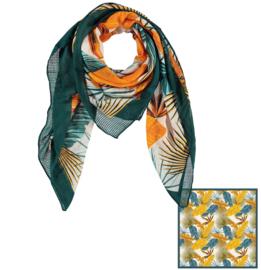 Sarlini Vierkante Dames sjaal Leaves Okergeel/Groen
