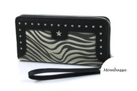 Zwart/Groene zebra portemonnee Mombassa