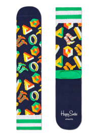 Happy Socks Athletic 3D Dot Crew Sock DBlauw