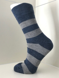 Boru Bamboo Design Stripe Sock | 2-Pack | Jeansblauw/Grijs