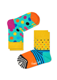 Happy Socks Kids 2-pack  Big Dot Geel Sokken KBDO02-2000