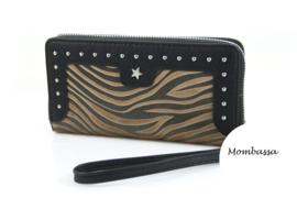 Zwart/Camel zebra portemonnee Mombassa