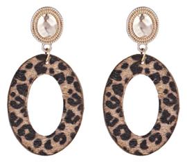 Leopard Oorbellen Bruin Ovaal