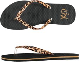 Flip flops Dames | Teenslippers Zwart / Leopard bandjes