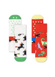 Happy Socks 2-Pack Antislip | Dinosaur | 6-12 maanden, Maat 17-21