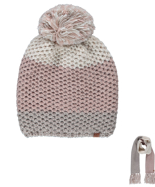 Sarlini   Knitted Dames Wintermuts Roze Ecru Taupe   Eline