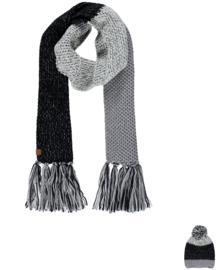 Sarlini | Lange knitted gebreide Sjaal Eline | Zwart Wit Grijs