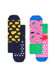 Happy Socks 2-Pack Antislip, Mouse,  6-12 maanden, Maat 17-21