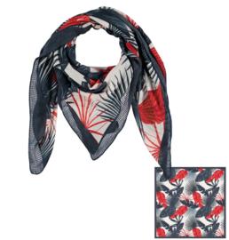 Sarlini Vierkante Dames sjaal Leaves Rood/Blauw