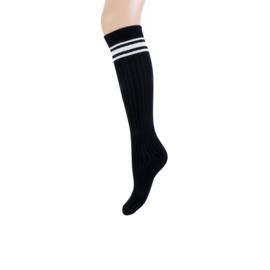 Teckel Dames Kniekousen   Zwart met witte strepen