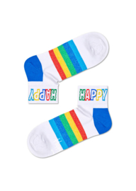 Happy Socks Athletic Rainbow Stripe 1/4 Crew Sneaker Sock