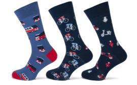 Teckel Heren Cars and Bikes sokken 3-Pack Maat 40/46